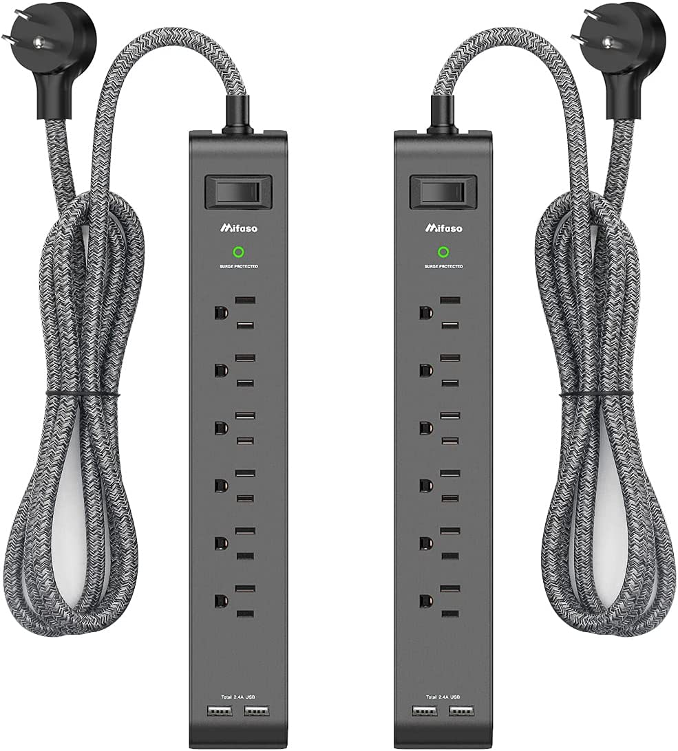 Compact Plug Extension for Home Offfice Travel 2 Metre Braided Cord AUOPRO 3 Way Power Strip with 4 USB Slots /& Phone Holder Surge Protected Extension Lead 2M 600 Joules Surge Protection