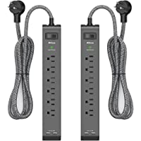 2 Pack Surge Protector Power Strip with 6 Outlets 2 USB Ports 5-Foot Long Heavy-Duty Braided Extension Cords Flat Plug…