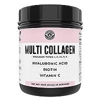 Collagen with Biotin, Hyaluronic Acid, Vitamin C (1 lb Powder)   Hydrolyzed Multi Collagen Peptide Protein (Types I, II, III, V, X). Collagen for Hair, Skin, Nails. Collagen Supplement for Women, Men