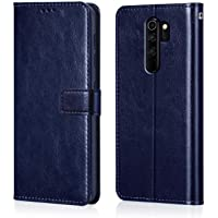 WOW Imagine Redmi Note 8 Pro Flip Case | Premium Leather Finish | Inside TPU with Card Pockets | Wallet Stand | Shock Proof | Magnetic Closure | 360 Degree Complete Protection Flip Cover for Xiaomi Redmi Note 8 Pro - Blue