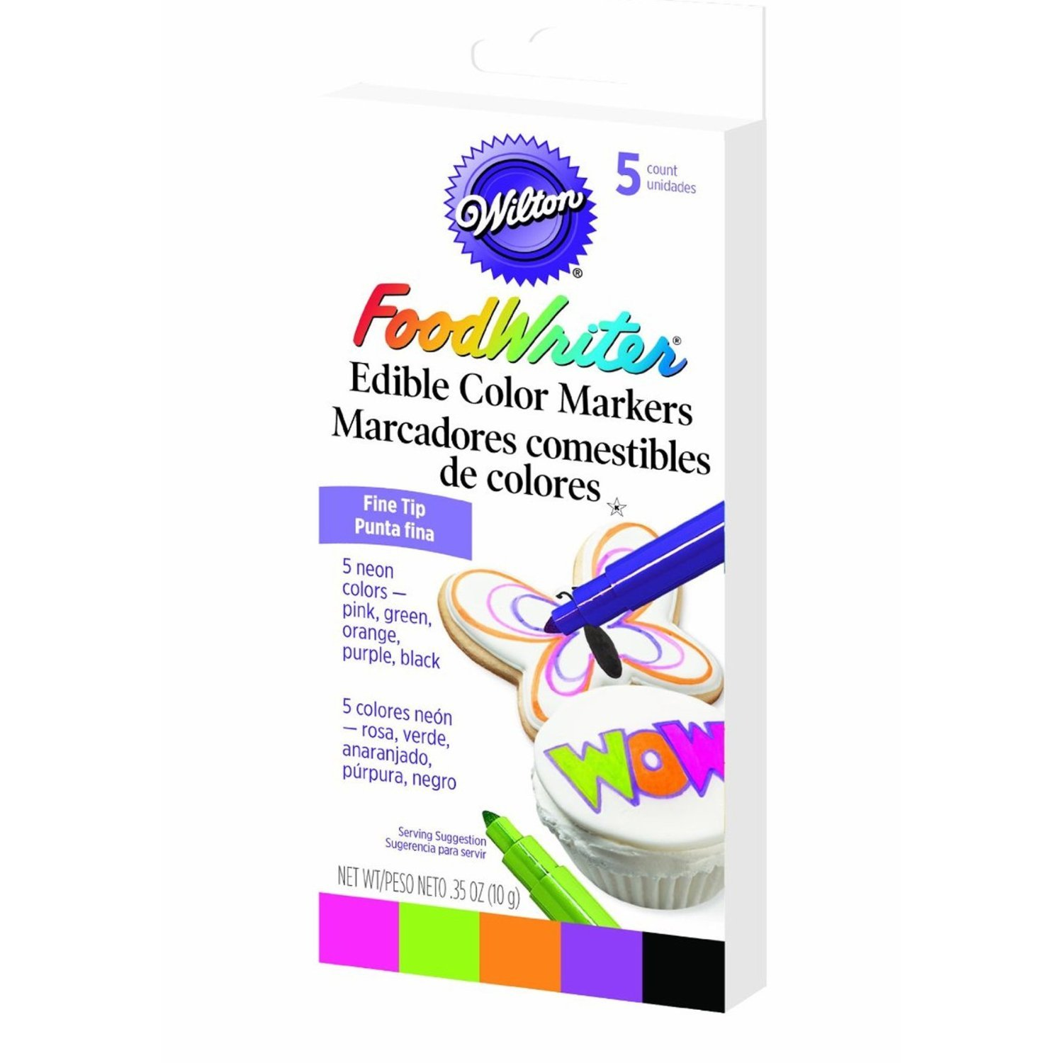Wilton Food Writer Edible Fine Tip Neon Color Markers 5 count by Wilton