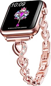 Sangaimei Compatible Bling Band for Apple Watch 38mm 40mm Band Women Rhinestone Stainless Steel Link Band Iwatch Series 6/5/4/3/2/1 Bracelet Metal Strap Rose Gold