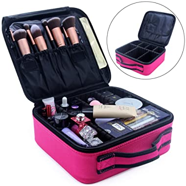 Travel Makeup Bag Train Case Makeup Cosmetic Case Organizer Portable Artist Storage Bag for Cosmetics, Brushes, Toiletries, Travel Accessories, Jewelry and Digital accessories 10.3  Hot Pink
