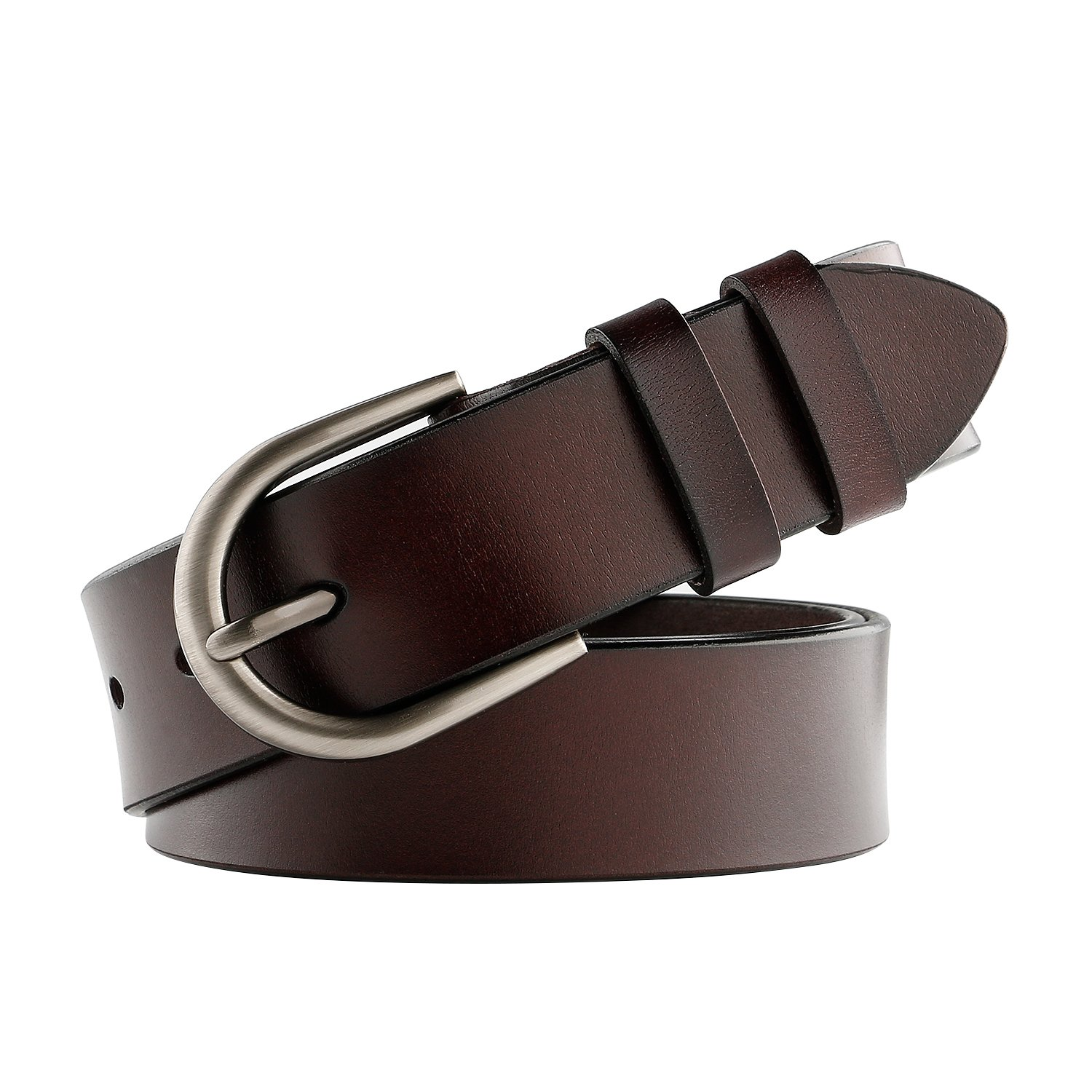 WHIPPY Women Belt Genuine Leather Belt for Jeans with Brushed Alloy Buckle Brown Belt Up to 42'', 1.3'' Wide