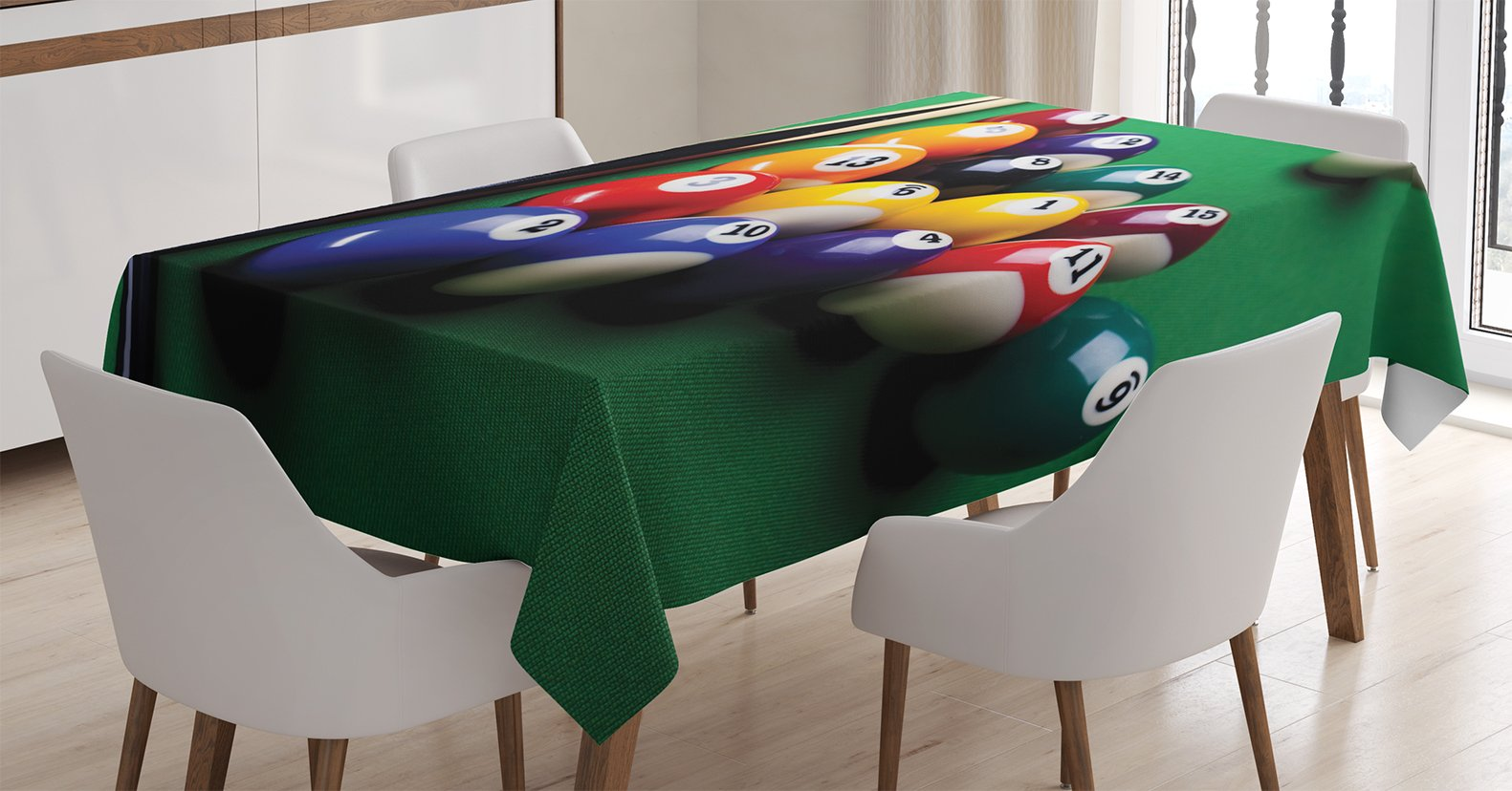 Ambesonne Manly Decor Tablecloth, Billiard Pool Balls Arrangement Snooker Contest Beginning Entertainment Game, Dining Room Kitchen Rectangular Table Cover, 60 X 90 inches