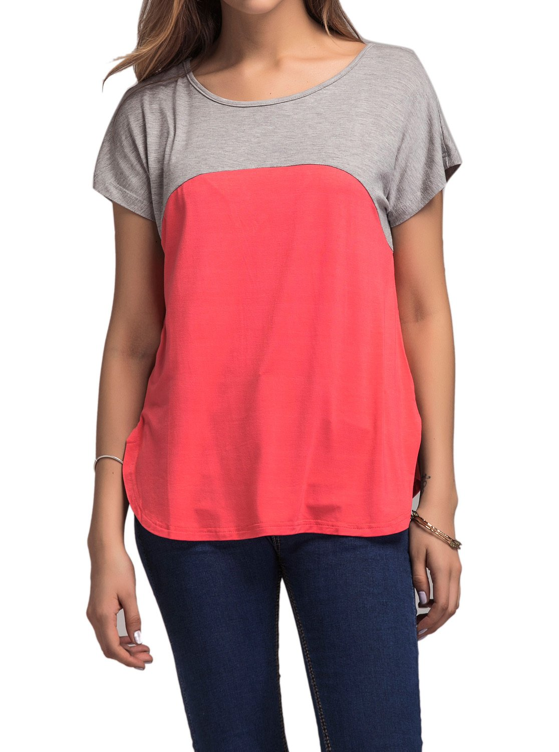 Adreamly Women's Casual Color Block Raglan Short Sleeve Blouse Shirt Tee Tunic Tops Coral Pink 2X-Large