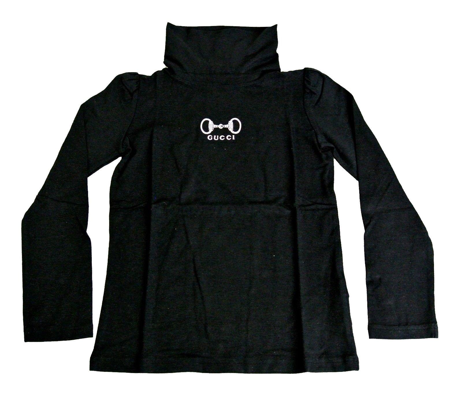 Gucci Black Modal Cashmere Horsebit Turtle Neck T Shirt 265570 Size
