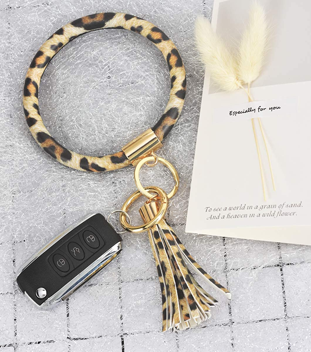Upgraded Pro Women Bracelet Keychain Round Hand Wristlet Lanyard Key Fob Key Ring Chain Keys Holder Bangle Keyring