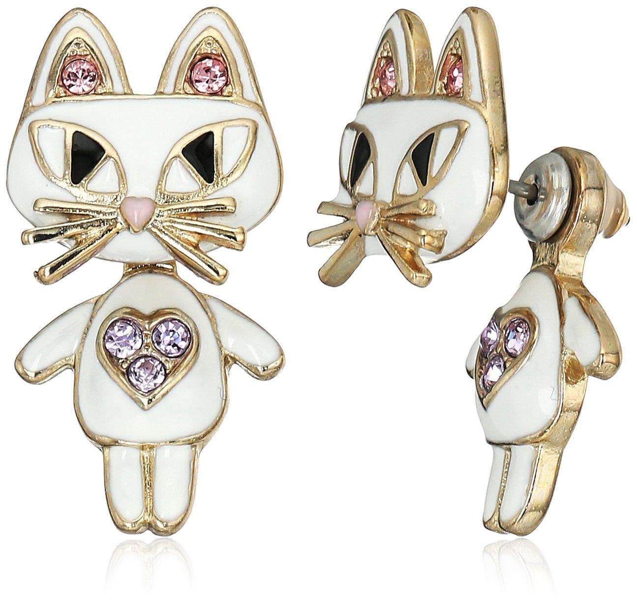 Betsey Johnson''Mini Critters'' Cat Earrings Jacket by Betsey Johnson