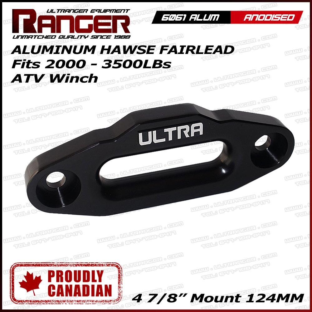 Mount Black 124MM Ranger Alum Hawse Fairlead For 2000-3500 ATV Winch 4 7//8/""
