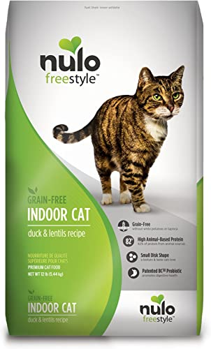 Nulo Grain Free Dry Cat Food – Indoor, Adult Trim, or Hairball Management with BC30 Probiotic, Salmon, Duck or Turkey Recipe – 5 or 12 lb Bag