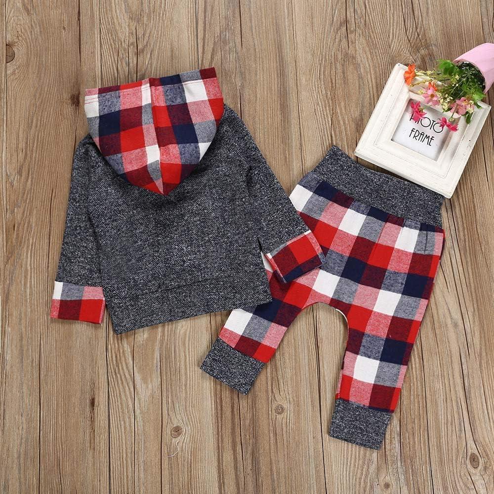 Kobay Neugeborenes Baby M/ädchen Jungen Plaid Mit Kapuze Tops Sweatshirt Hosen Outfits Set