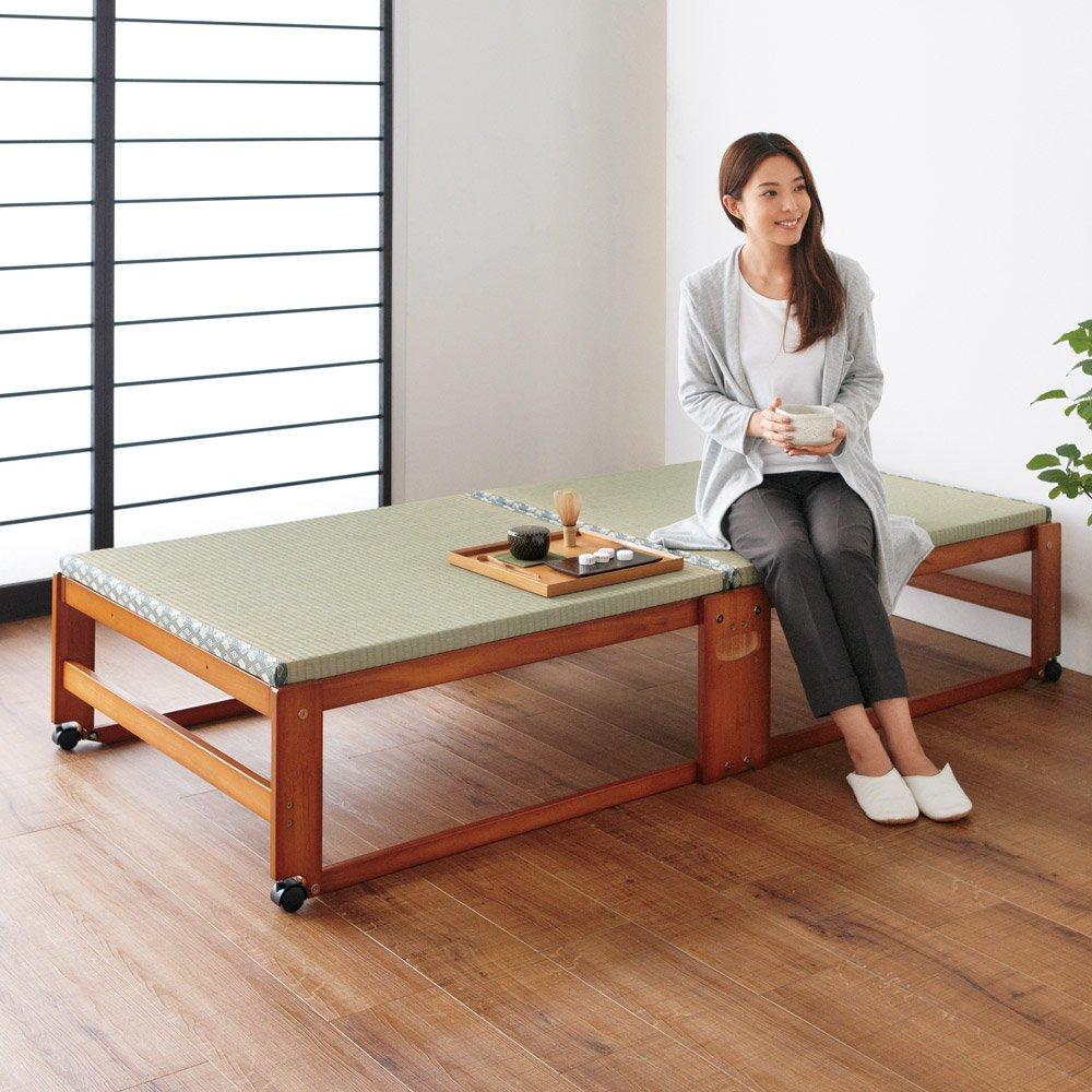 【シングル】畳空間を演出できる折りたたみベッド 棚なし 666007(サイズはありません ア:ブラウン) B07M9XVHRK ア:ブラウン