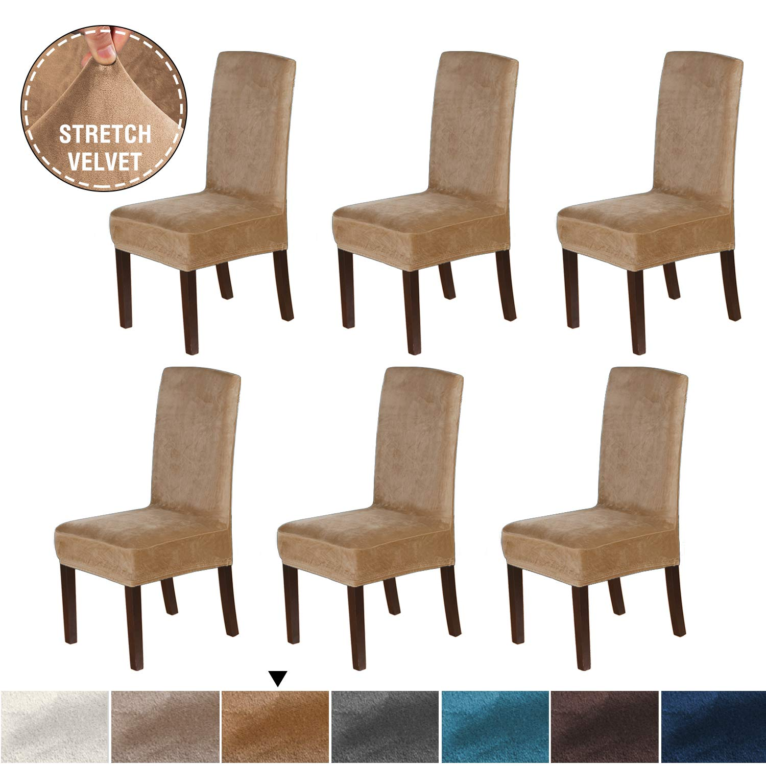 H.VERSAILTEX Armless Dining Chair Slip Covers for Dining Room Velvet Plush Dining Room Chair Slipcovers Sets Washable Removable Chair Slipcover Dining Chair Protector Cover, 6 Pack, Luggage by H.VERSAILTEX