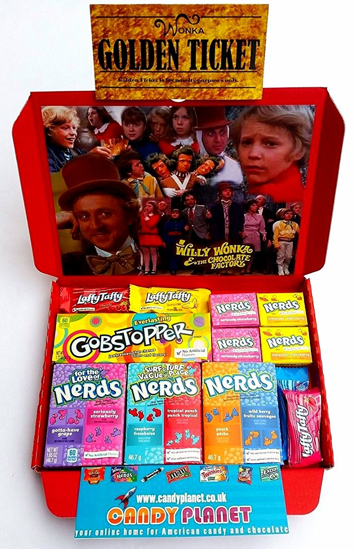 Willy Wonka Charlie & The Chocolate Factory Sweets Hamper | Golden ...