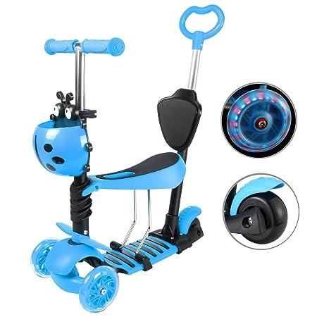 Yorbay Patinete Scooter Freestyle 3 en 1 Walker Trole Scooter 3 Ruedas de LED Altura Ajustable con 1x Cesta del Escarabajo para Niño Infantil (Azul)
