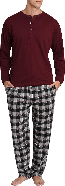 SLEEPHERO Adult Men's Flannel Pajama Long Sleeve Henley Cotton Button Down PJ Shirt Pant Set