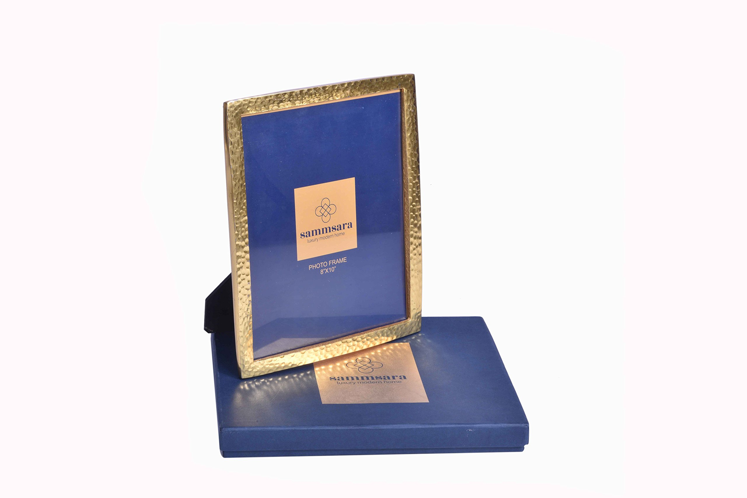 """Gabriel Gold Hammered Photo Frame Big 8X10"""" Photosize with Free Beautiful Gift Box"""