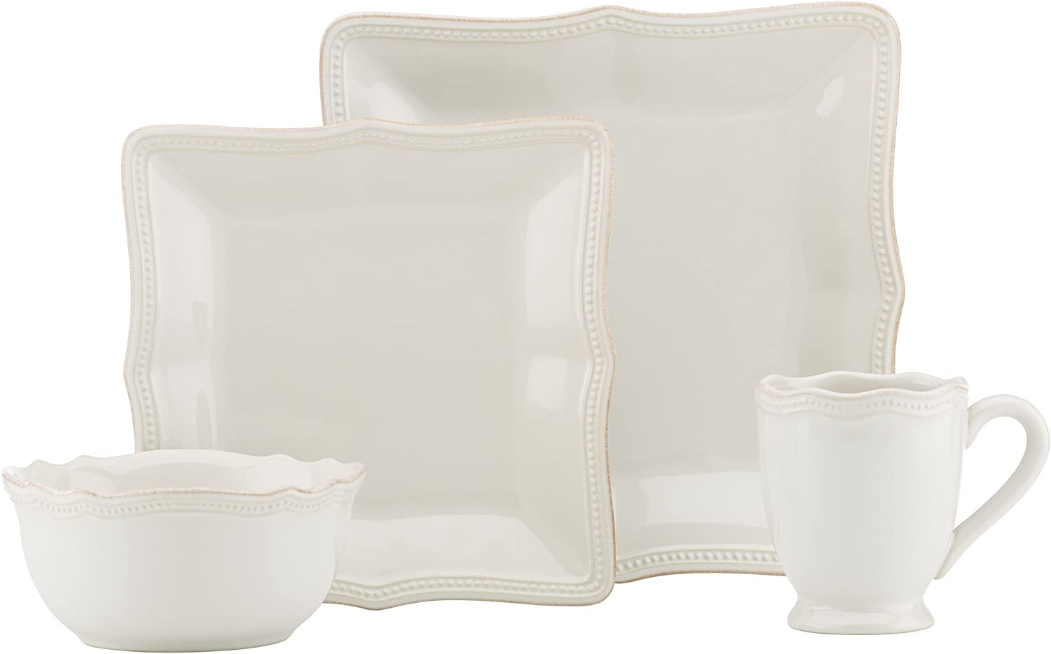 Lenox French Perle Bead White Square 16 Piece Dinnerware Place Setting Set, Service for 4
