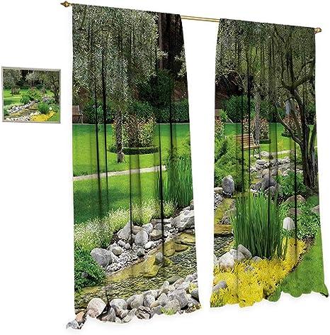 Anniutwo - Cortina de Tela para jardín, diseño de cología y Naturaleza, Color Verde: Amazon.es: Hogar