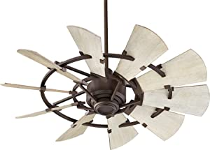 "Quorum 94410-86 Windmill 44"" Ceiling Fan with Wall Control, Oiled Bronze"