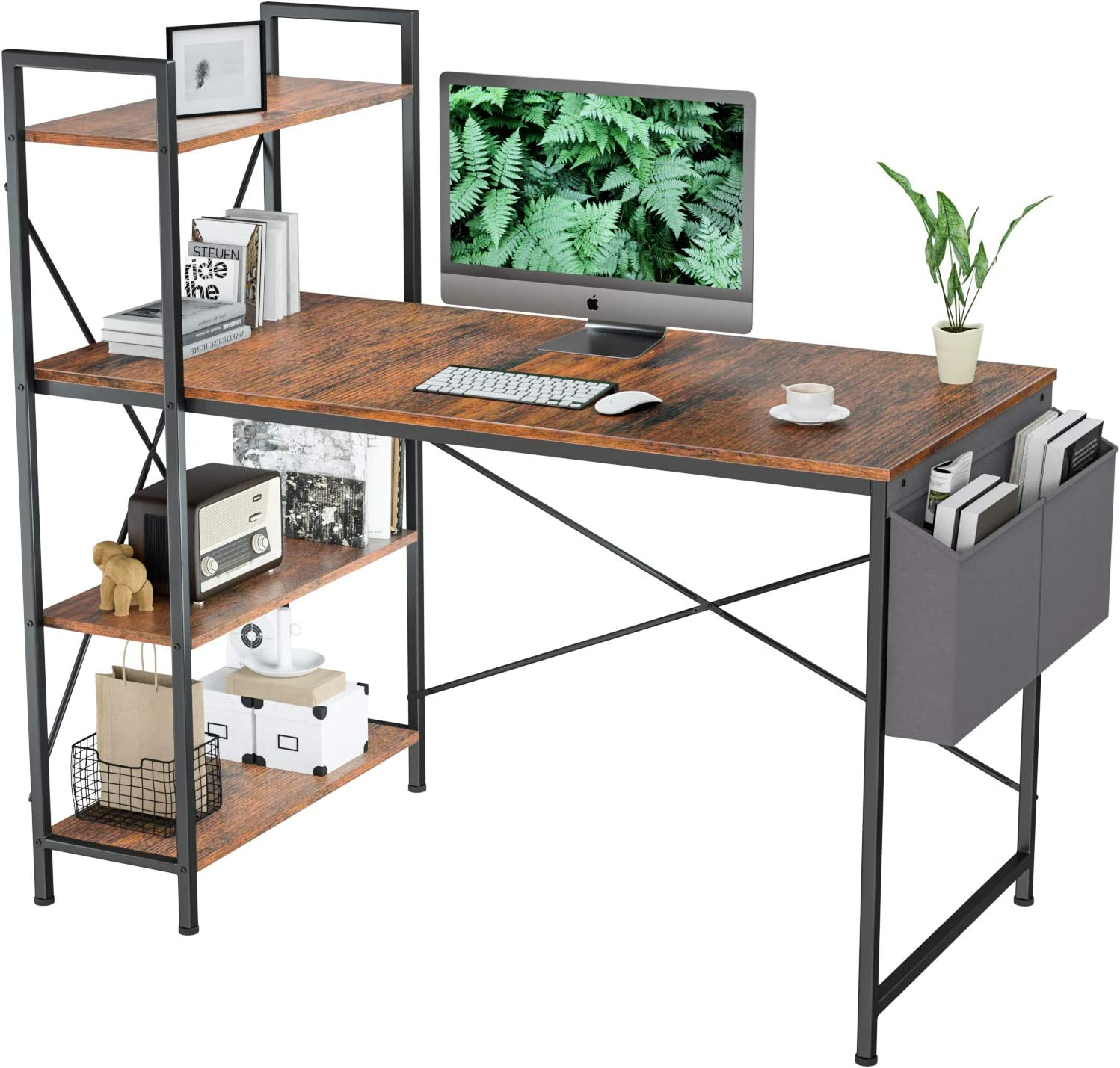 Computer Desk with Shelves 47 Inch - Aludest Reversible Writing Desk with Adjustable Storage Bookshelf Home Office Desk Study Table Work Desk with Shelves Office Bookshelf Tower Desk Easy Assemble