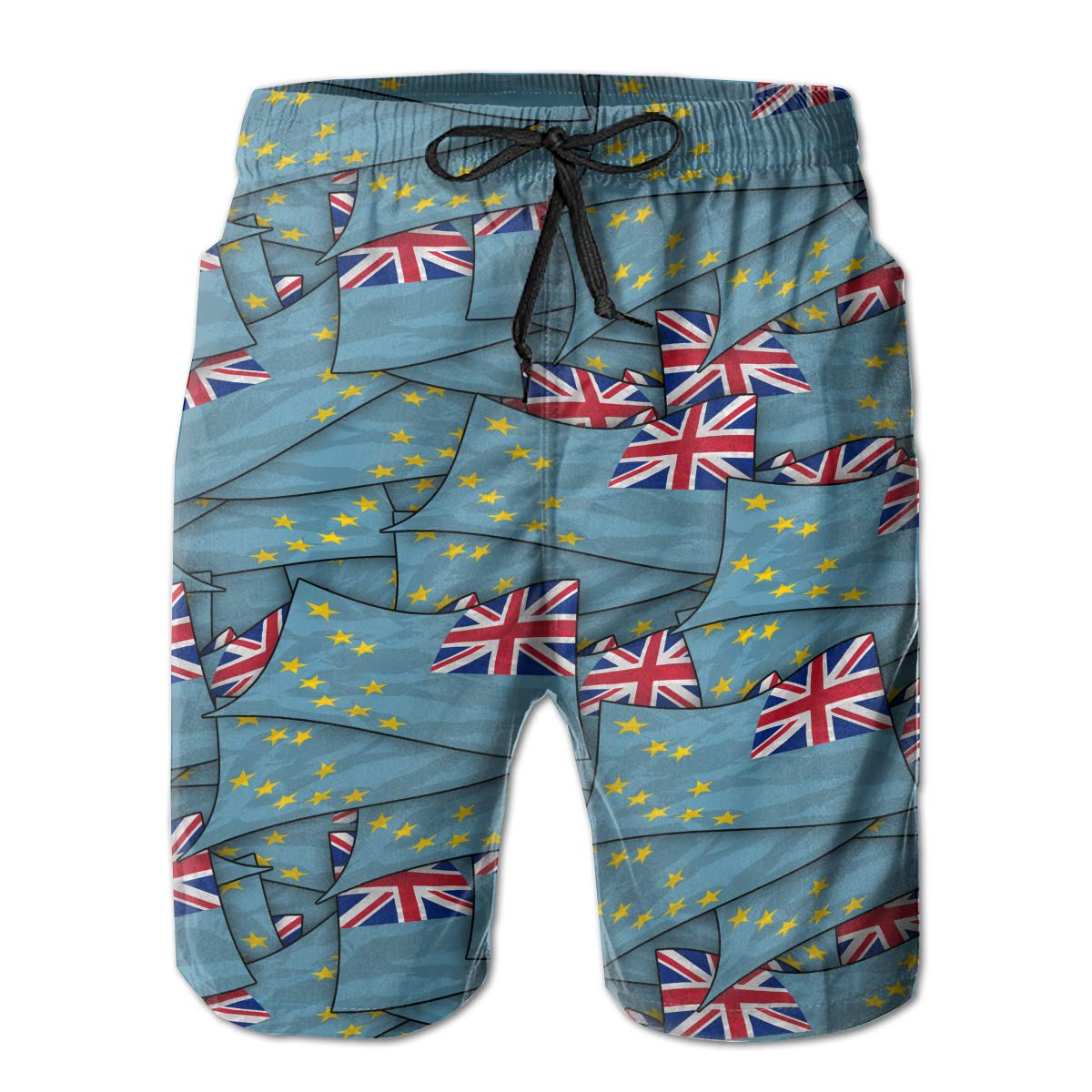 Mens Swim Trunks Tuvalu Flag Wave Collage Quick Dry Beach Board Shorts with Mesh Lining
