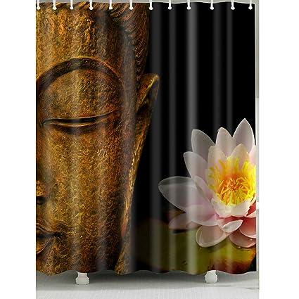 Buddha Head And Lotus Shower Curtain 1 Pc For Home Bath