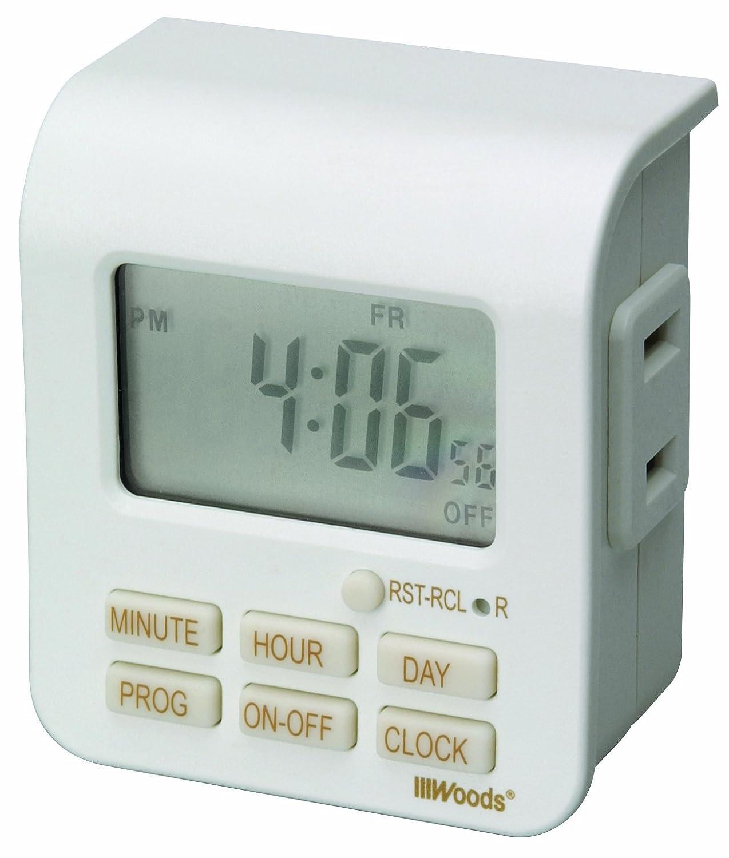 Woods 50008 Indoor 7-Day Digital Outlet Timer, Standard Outlets ...