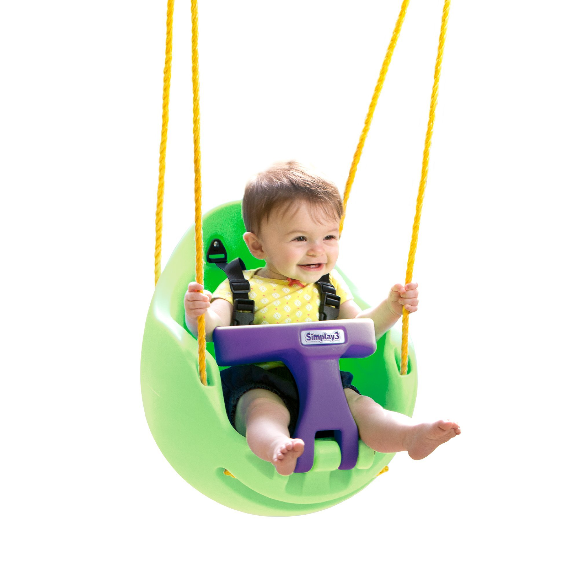 Simplay3 Snuggle Swing - Children's First Swing, Green and Purple