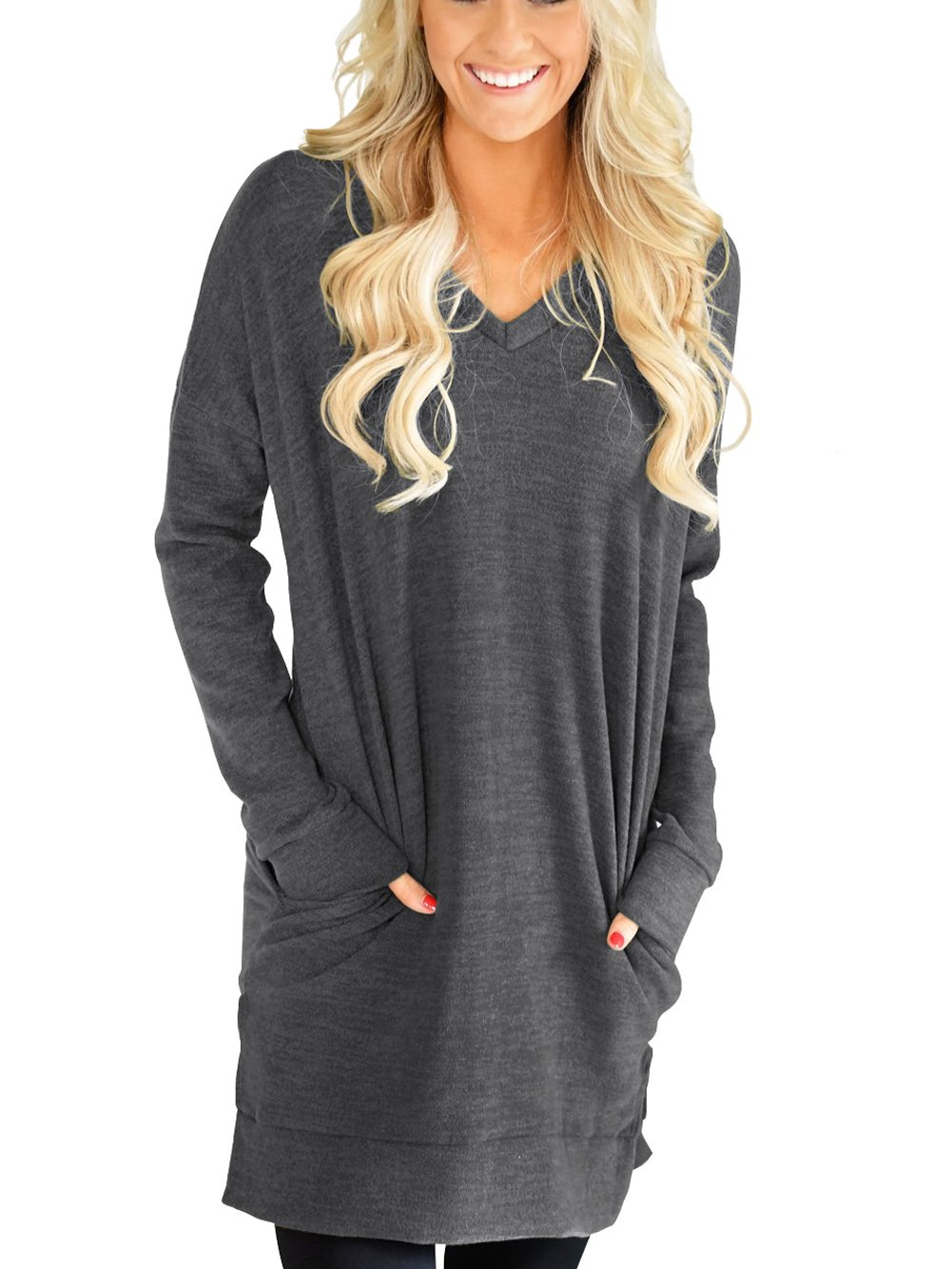 XUERRY Womens Casual V-Neck Long Sleeves Pocket Solid Color Sweatshirt Tunics Blouse Tops (Dark Grey,L)