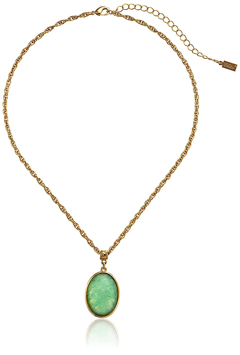 "1928 Jewelry ""Semi Precious Collection"" 14k Gold Dipped Oval Pendant Necklace, 16"" by 1928 Jewelry"