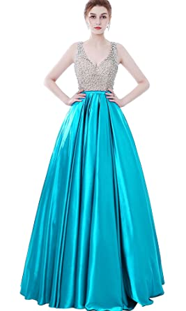Womens Sparkly Beaded Prom Dresses Ball Gowns V-Neck Evening Formal Dresses Open Back Aqua