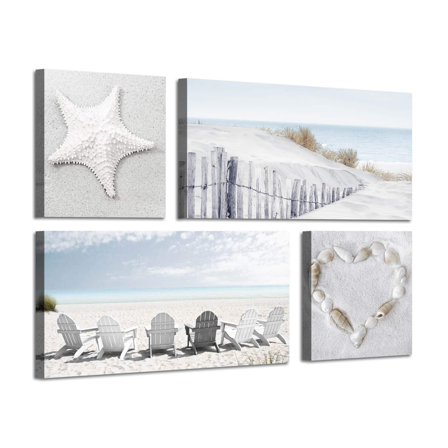 "Beach Wall Art Seascape Print: Starfish & Chair on Seaside Giclee Artwork Painting on Canvas for Wall Decor (12""x12""x2 Panels+24""x12""x2 Panels)"