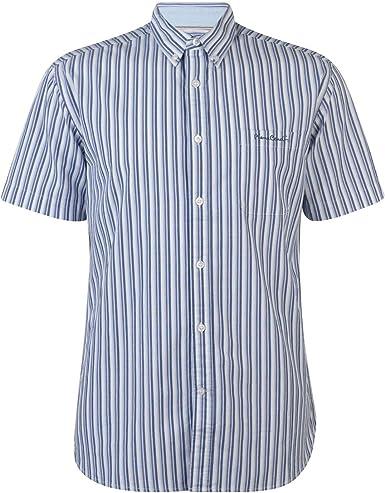 Pierre Cardin - Camisa de rayas de manga corta para hombre