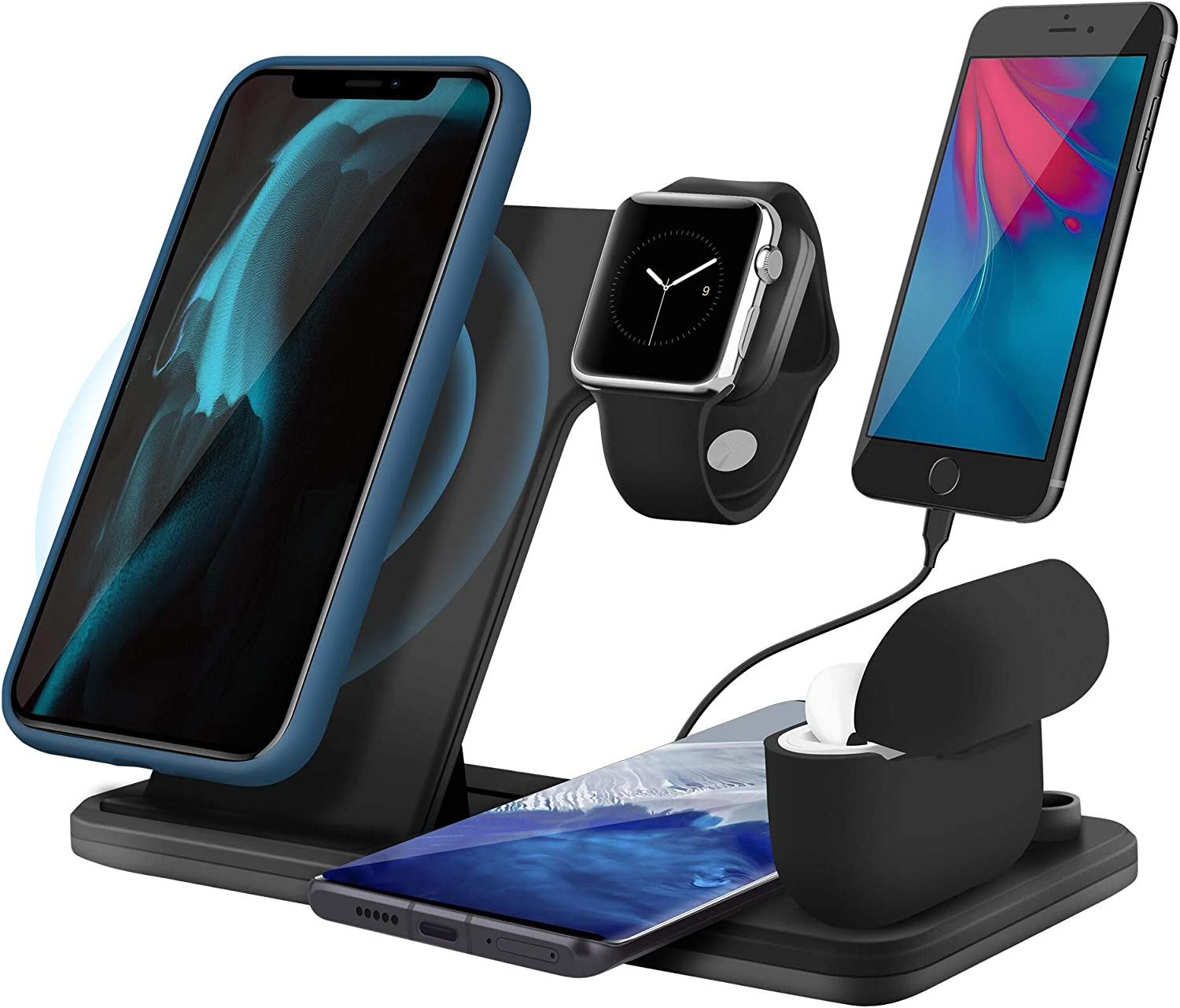 5 in 1 Wireless Charging Station for Apple Watch 6 Airpods Pro, Xperg 30W Fast Wireless Charger Stand Dock Compatible with iPhone 11 12 Pro Max SE Xr X Xs Max Mini/iWatch/Qi-Certified Phones