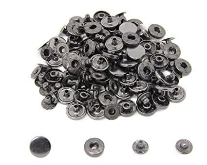 30 Sets Heavy Duty Snap Fasteners, BetterJonny 12 5mm Gunmetal Black  Poppers Press Stud Rivet for Leather Craft Sewing Clothing