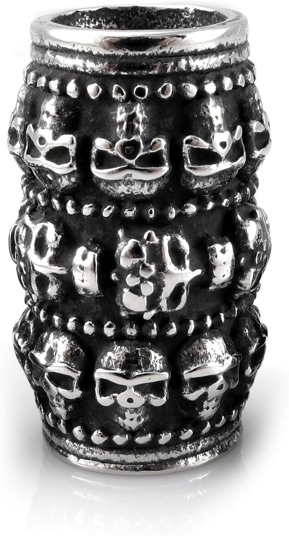 Perla para barba de acero inoxidable, diseño de calavera 2, diámetro interior de 9 mm