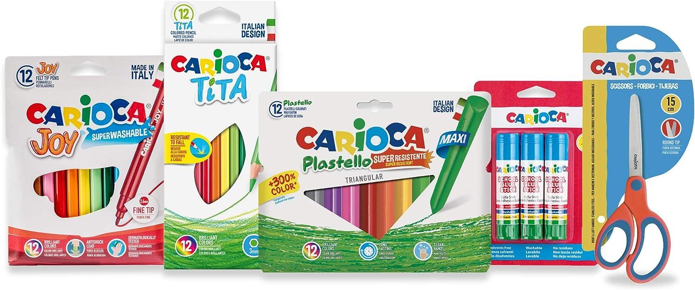CARIOCA SET TODO PARA EL COLE | 53217 - Kit Material Escolar: Rotuladores, Lápices, Plasticeras, Pegamento y Tijeras, 40 Unidades