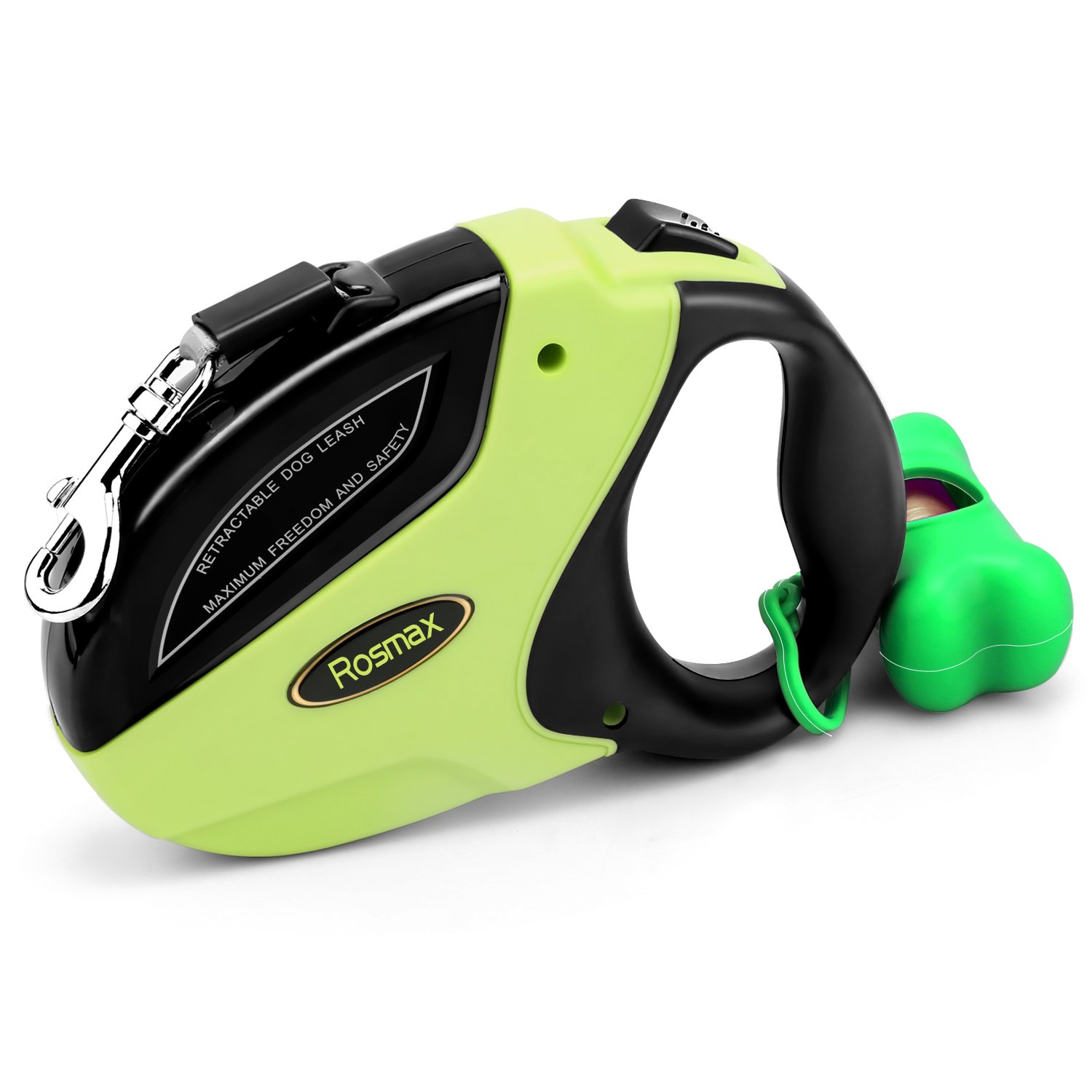 Retractable Dog Leash - Adjustable With Break And Lock Button - Great for Small, Medium & Large Dogs up to 110lbs - Strong Nylon Ribbon Extends 16ft - Dog Waste Dispenser and Bags included