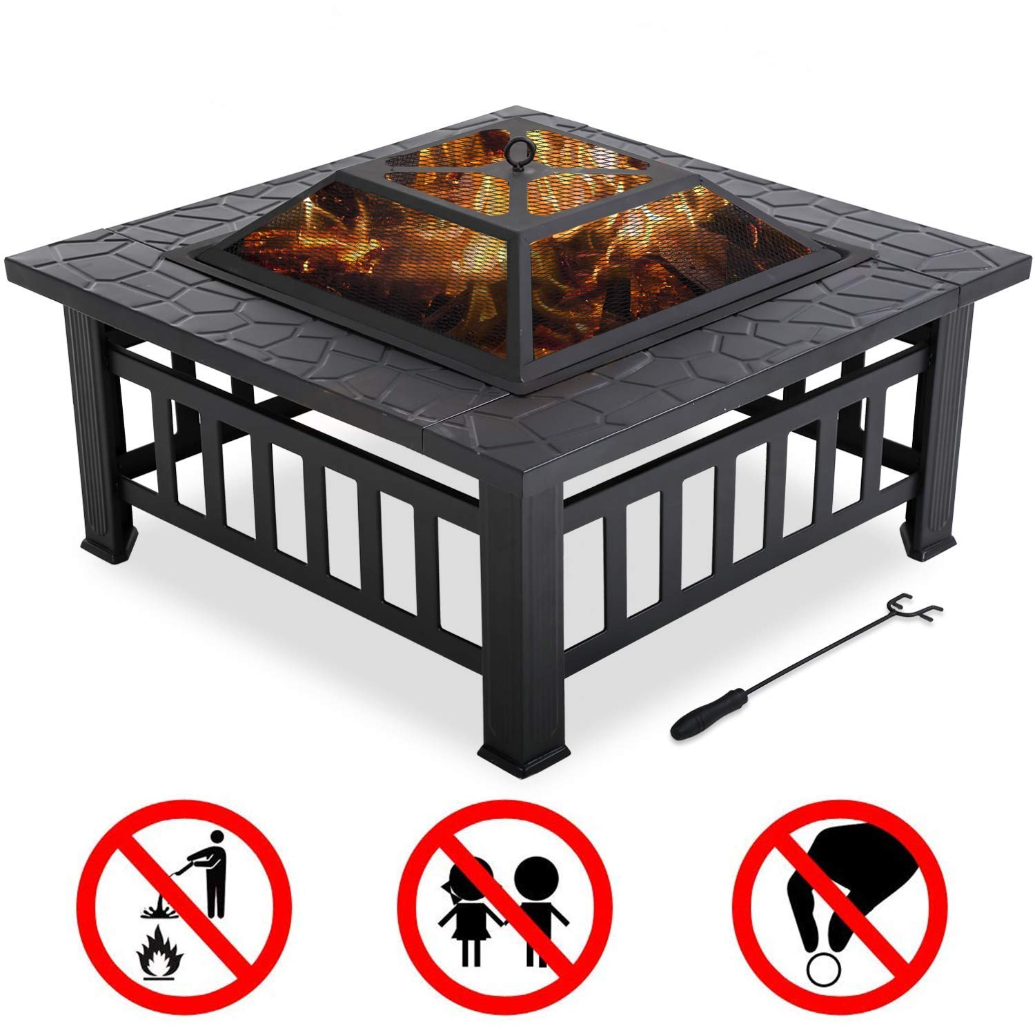 FDW Outdoor fire Pit for Wood 32'' Metal firepit for Patio Wood Burning Fireplace Square Garden Stove with Charcoal Rack, Poker & Mesh Cover for Camping Picnic Bonfire Backyard by FDW