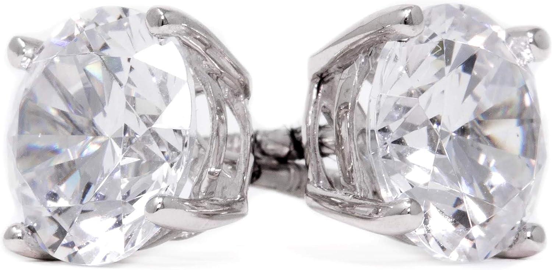 Pendientes de tuerca de diamante para mujeres y hombres, oro blanco de 14 quilates, corte redondo de 2 quilates, pendientes de tuerca, pendientes de diamante para mujeres y hombres