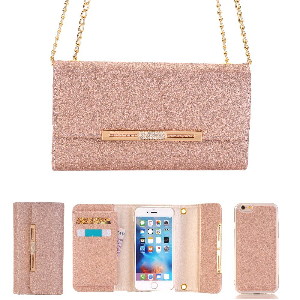 FuriGer iPhone 7 Plus Case, Apple iPhone 7 Plus Wallet Case,Bling Glitter PU Leather 7 Card Slots Wallet Case Handbag with Detachable Magnetic Back Case and Metal Chain for iphone 7 Plus-OEellow
