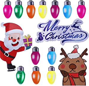 Garma 15PCS Christmas Car Refrigerator Garage Door Dishwasher Magnets Decorations Cover Reflective Bulb Light Santa Reindeer Magnet Accessories Set Xmas Holiday