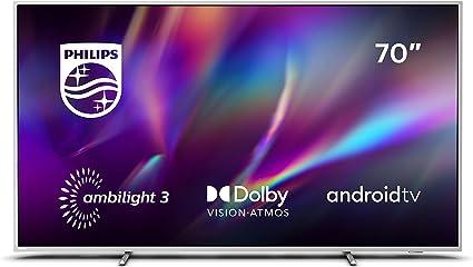 Televisor Philips Ambilight 70PUS8505/12, Smart TV de 70 pulgadas (4K UHD, P5 Perfect Picture Engine, Dolby Vision, Dolby Atmos, Control de voz, Android TV), Color plata claro (modelo de 2020/2021): Amazon.es: Electrónica