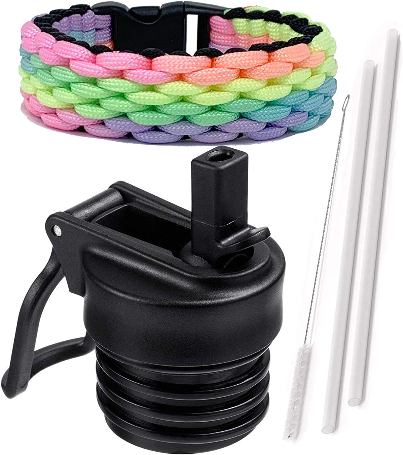 One MissionX Straw Lid and Paracord Handle Set, Compatible with Hydro Flask Standard Mouth 24, 21, 18, 12 oz Water Bottle & Simple Modern Ascent Bottles. Leak Proof