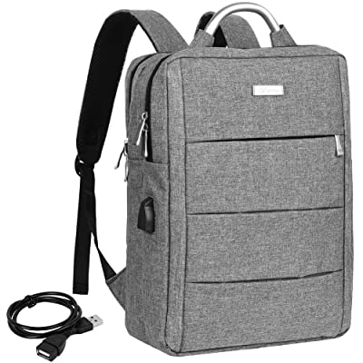 70%OFF Vbiger Slim Laptop Backpack Practical Travel Backpacks Multi-functional Computer Bag for men with USB Charging Port Fits 14'' Laptop (Grey)