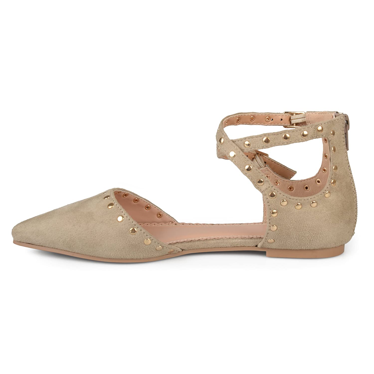 Brinley Flats Co Womens Double Ankle Strap Faux Suede Studded Flats Brinley B073VSFK9S 8.5 B(M) US|Taupe e65238