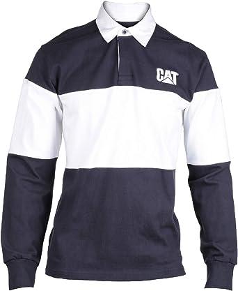 Caterpillar Mens Long Sleeved Button Collar Rugby Shirt Navy ...