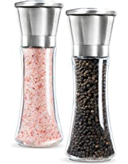 DaZone Salt and Pepper Grinder Set, Stainless Steel Pepper Mills , Salt and Pepper Shakers Set of 2- Brushed Stainless Steel Pepper Mill and Salt Mill, 6 Oz Glass Tall Body, 5 Grade Adjustable Ceramic Rotor – Best for Tasty and Healthy Food